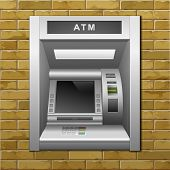 picture of automatic teller machine  - Vector ATM Bank Cash Machine on a Brick Wall Background - JPG