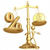 Unbalanced Golden Scale Percentage And Gold Dollar Coin poster