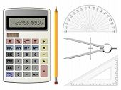 foto of protractor  - Calculator compass and protractor vector geometry illustrations - JPG