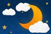 stock photo of crescent-shaped  - Crescent Moon Nigh with Starry and Cloud - JPG