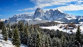 foto of south tyrol  - View on the Langkofel and Plattkofel (Sassolungo and Sassopiatto) dolomites mountains over the Alpe di Siusi or Seiser Alm in South Tyrol Italy in winter.