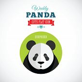 stock photo of panda  - Weekly Panda Cute Flat Animal Icon  - JPG