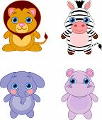 stock photo of baby animal  - Cute funny baby animals set - JPG