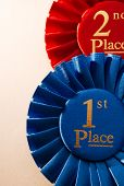 pic of rosettes  - 1st place blue winners rosette or badge to be awarded as a prize to the winner of a competition made of pleated blue ribbon with central text in gold with a 2nd place red rosette behind - JPG