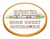 stock photo of cross-hatch  - Home Sweet Motor home with a big heart - JPG