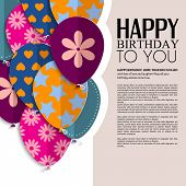 pic of birthday  - Birthday card with paper balloons and birthday text - JPG