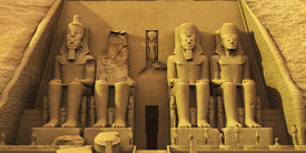 picture of pharaohs  - Temple of Abu Simbel are two massive rock formations where statues have been carved into the stone to honor Pharaoh Ramesses and Queen Nefertari - JPG