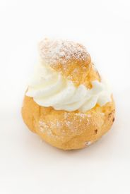 image of pastarelle  - tasty beignets of choux pastry with whipped cream - JPG