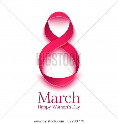 March 8 greeting card. Background template for International Womens Day
