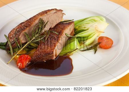Roasted Breast Of Duck With Vegetables.