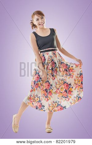 Attractive Asian woman with maxi dresses, full length isolated.