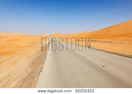 Desert Road In Abu Dhabi