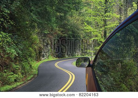 Driving Through The Winding Roads Of The Smoky Mountains