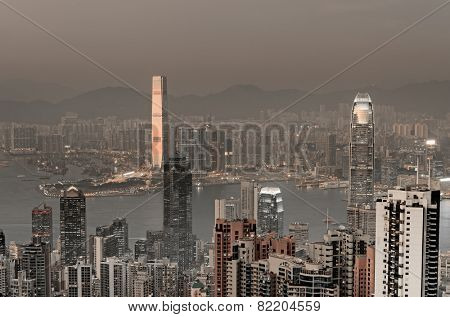 Skyscrapers in sunset mist in Hong Kong, Asia.