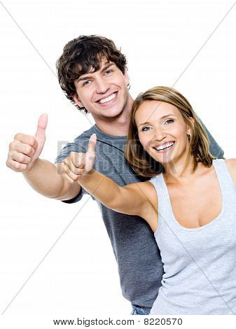 Smiling People With Thumbs-up Gesture