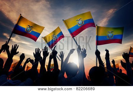Silhouettes of People Holding Flag of Ecuador