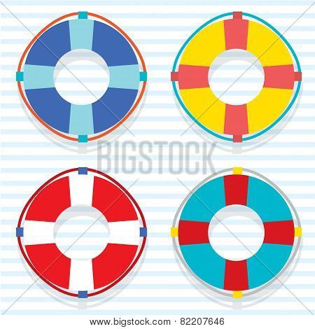 Set Of Colorful Lifebuoy.