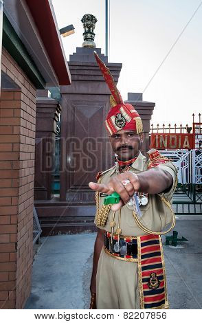 Indian Guard In The India-pakistan Wagah Border Closing Ceremony