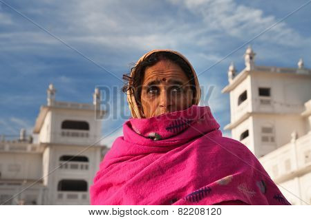 Woman  In Golden Temple. Amritsar. India