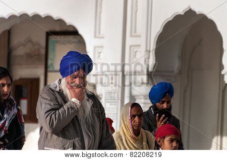 Sikh Man At Golden Temple In The Early Morning. Amritsar. India