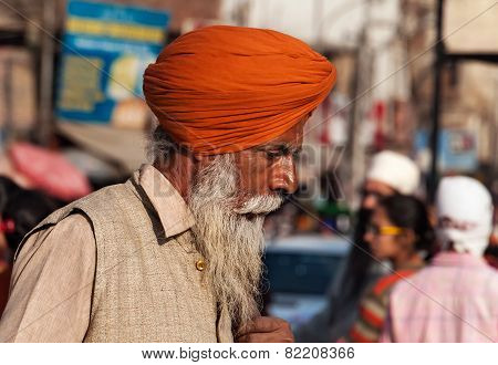 Indian Sikh Man On The Street In Amritsar. India