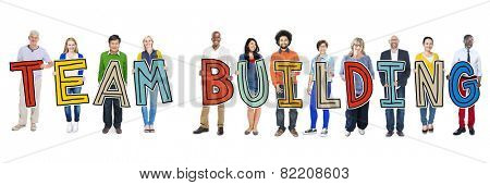 Diverse Group of People Holding Text Team Building
