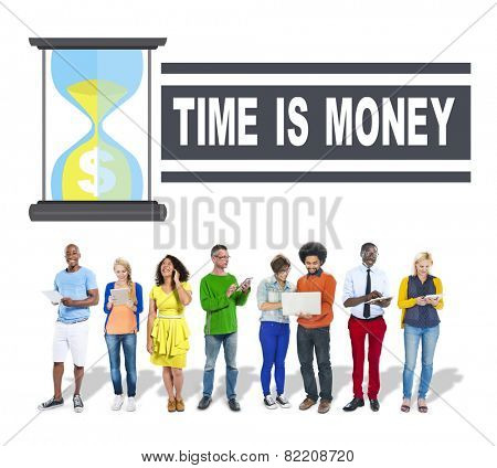 Time Money Hour Glass Business People Concept