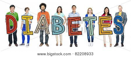 Multi-Ethnic Group of People Holding Text Diabetes