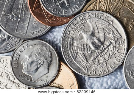 Group Of Us American Coin And Quarter Dollar