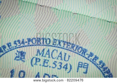 Admitted Stamp Of Macau Visa For Immigration Travel Concept