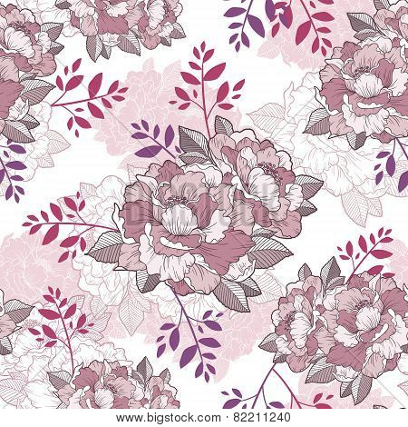 Elegant Peony Seamless Floral Pattern Background