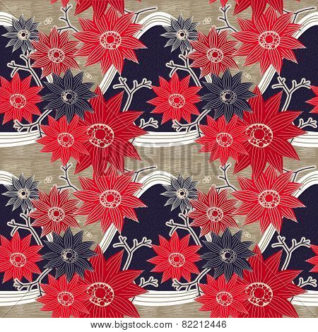 Graceful Red And Blue Flowers