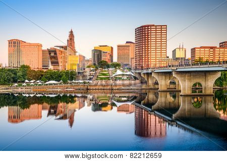 Hartford, Connecticut, USA downtown city skyline on the river.