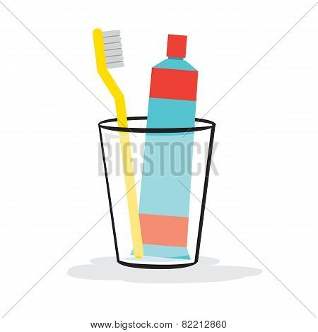 Toothpaste And Toothbrush In The Glass.