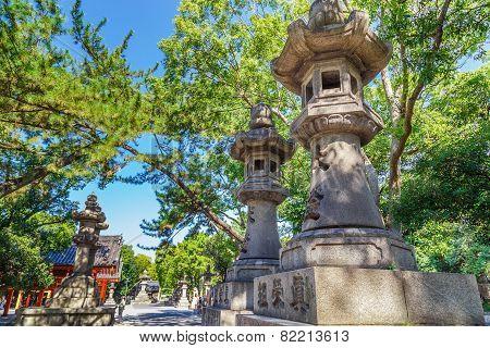 Stone Lanterns at Sumiyoshi Grand Shrine (Sumiyoshi-taisha) in Osaka