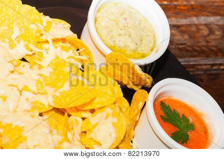 Delicios classic Guacamole with tortilla chips, Tex Mex dish