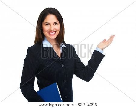 Business woman with folder presenting isolated on white background.