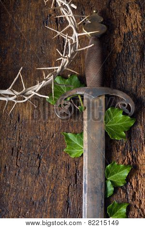 Crown of thorns and sword symbolizing Jesus' death and resurrection at Easter