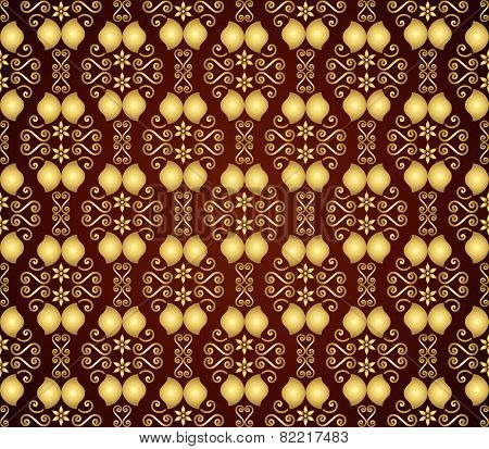 Gold Vintage Flower And Swirl Pattern In Classic Style