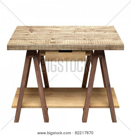 Workshop table with drawer and shelf