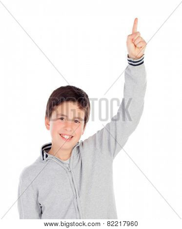 Smiling teenage boy of thirteen asking to speak isolated on white background