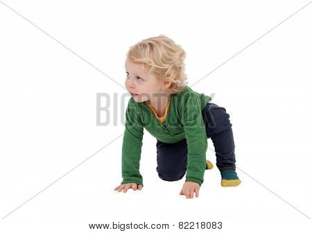 Adorable blond baby standing up isolated on a white background