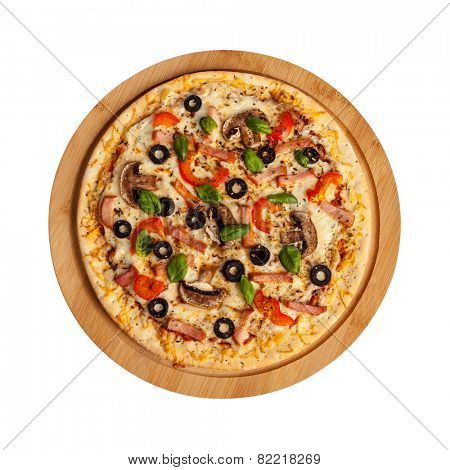 Ham pizza with capsicum, mushrooms, cherry tomatoes,  olives and basil leaves isolated on white top view