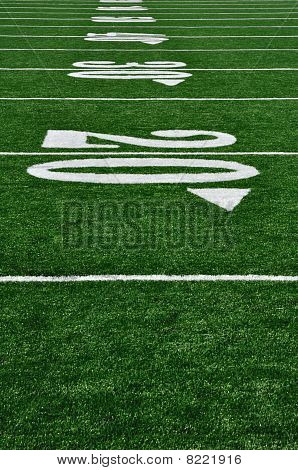 20 Yard Line On American Football Field