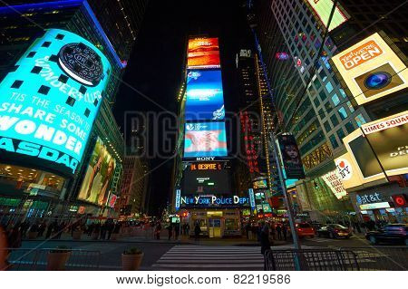 NEW YORK CITY - APRIL 02: Times Square at night on April 02, 2014.