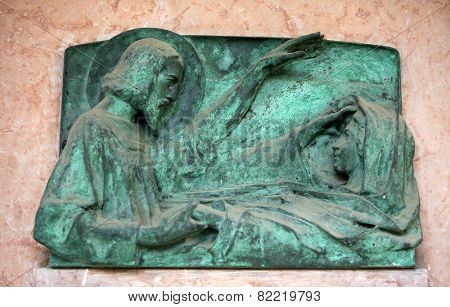 ZAGREB, CROATIA - OCTOBER 28: Detail of a mourning sculpture on a Mirogoj cemetery in Zagreb, Croatia on October 28, 2013.