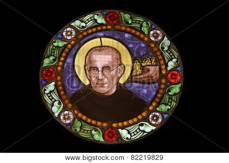MARIJA BISTRICA, CROATIA - JULY 14: Maximilian Kolbe, stained glass window in Basilica Assumption of the Virgin Mary in Marija Bistrica, Croatia, on July 14, 2014