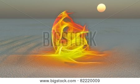Fire burning in desert Sands
