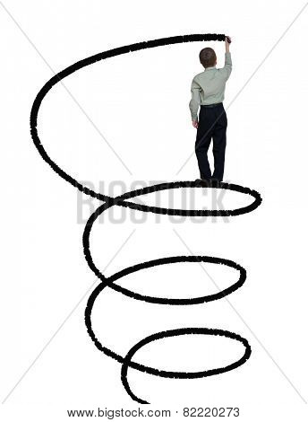 businessman draws a spiral line