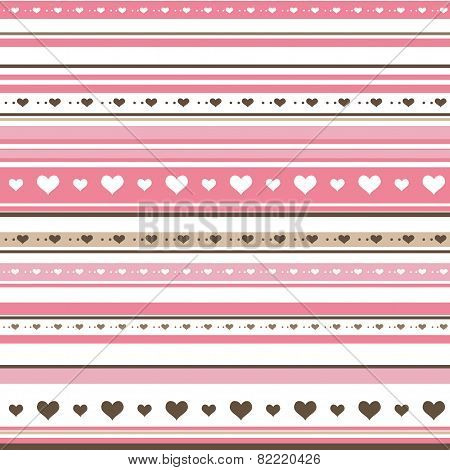 Seamless Horizontal Striped Pattern With Hearts